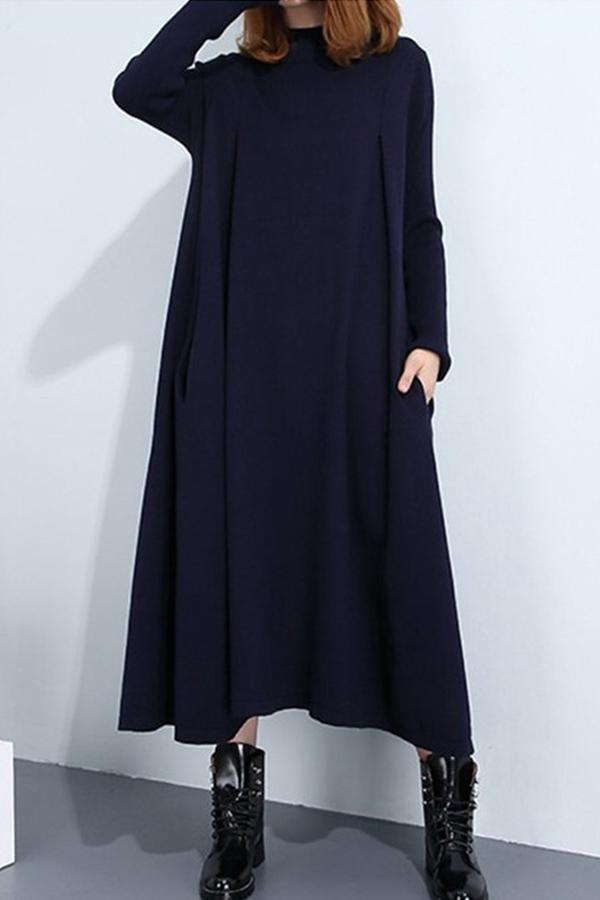 Solid Stand Collar Side Pockets Casual Maxi Dress