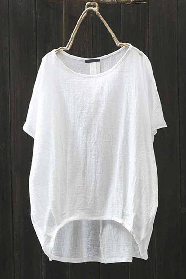 Crew Neck High Low Linen Solid T-shirt