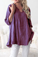 V-neck Long Sleeves Loose Blouse