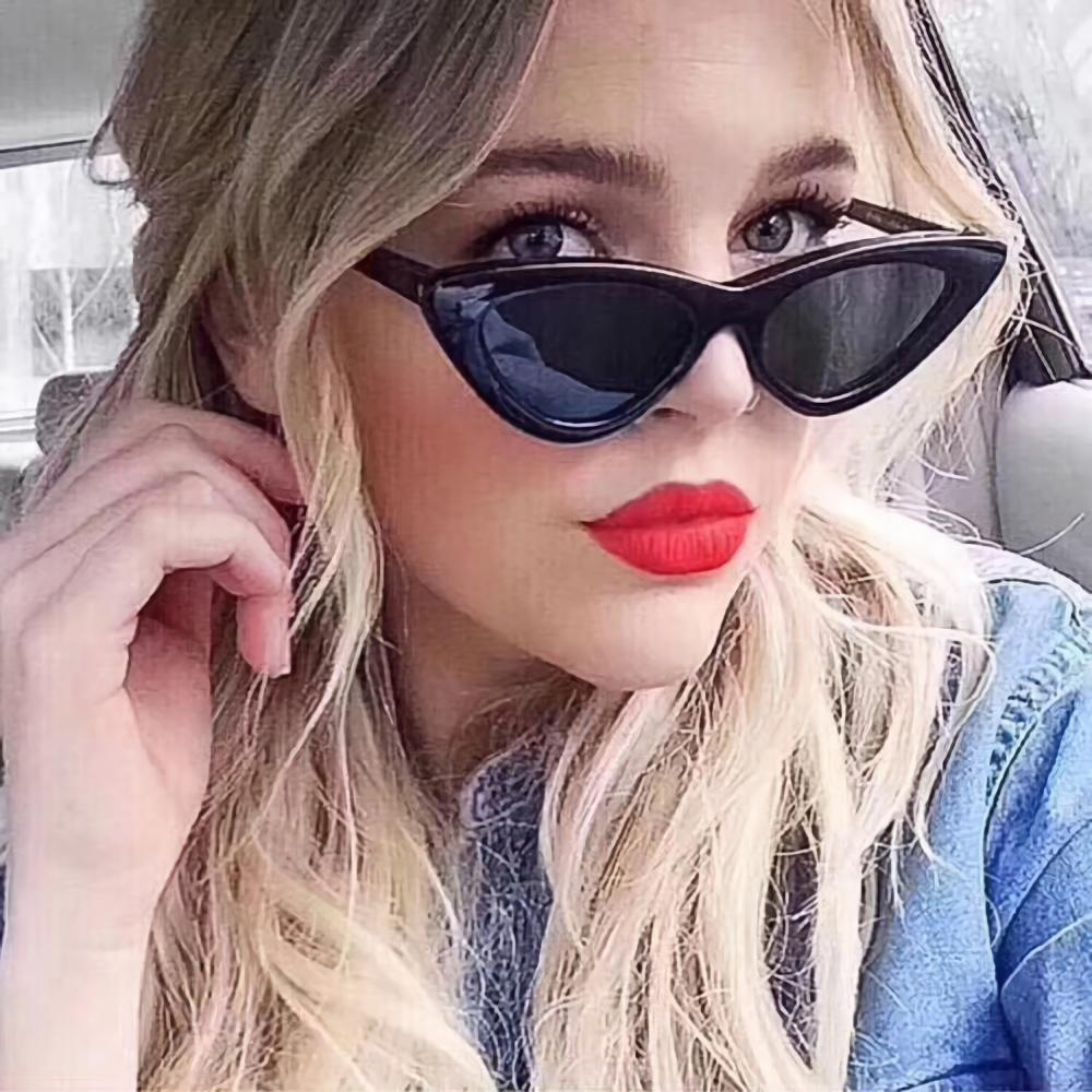 Retro Tinted Cat Eye Triangle Sunglasses