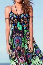 Boho Print Spaghetti Sleeveless Holiday Dress