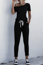 One Shoulder Drawstring Pockets Casual Jumpsuits