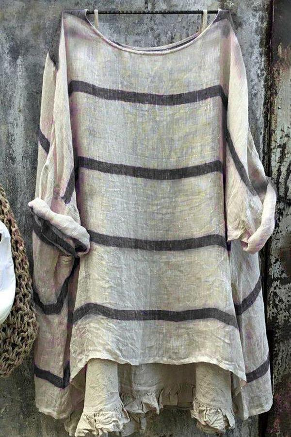 Striped Long Sleeves Linen Blouses