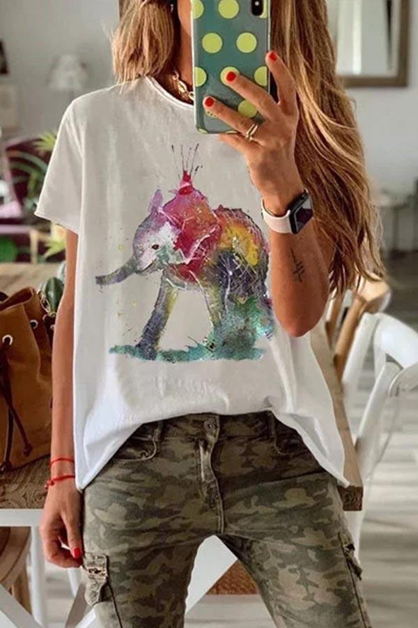Elephant Print Short Sleeves Casual T-shirts