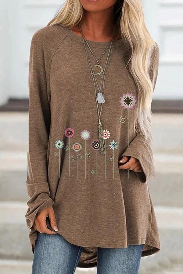 Casual Floral Print Long Sleeves T-shirts