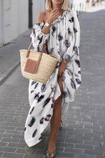 Printed One Shoulder Color-block Maxi Dress