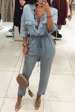 Solid Shirt Collar Sheath Drawstring Jumpsuits