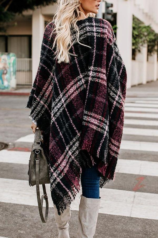 Color-block Casual Plaid Print Tassel Cardigans