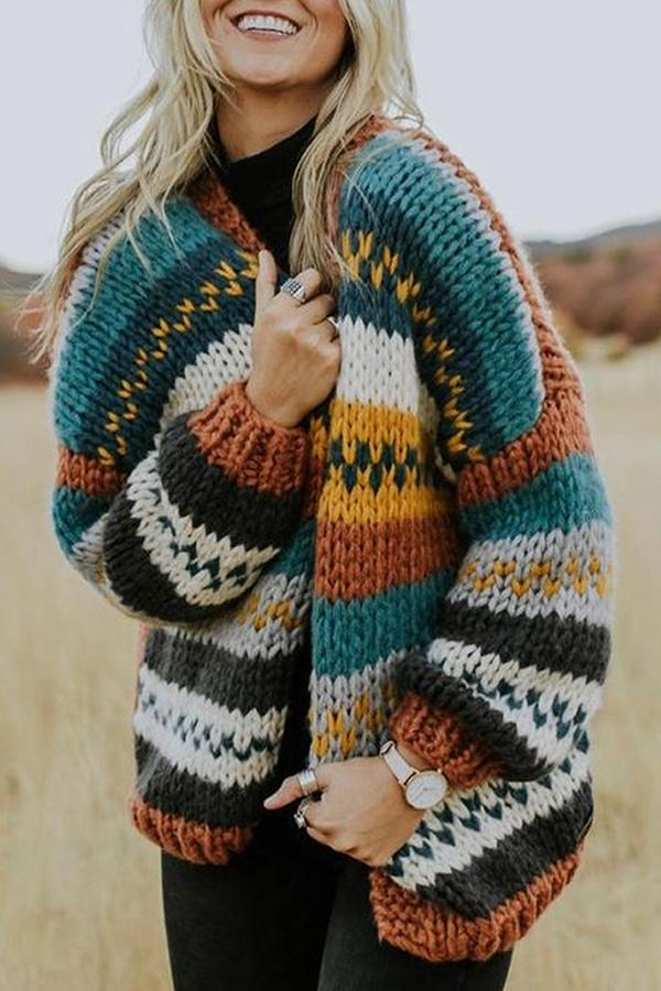 Casual Color-block Striped Long Sleeves Cardigans