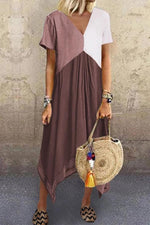 Color Block Irregular Hem V-neck Midi Dress