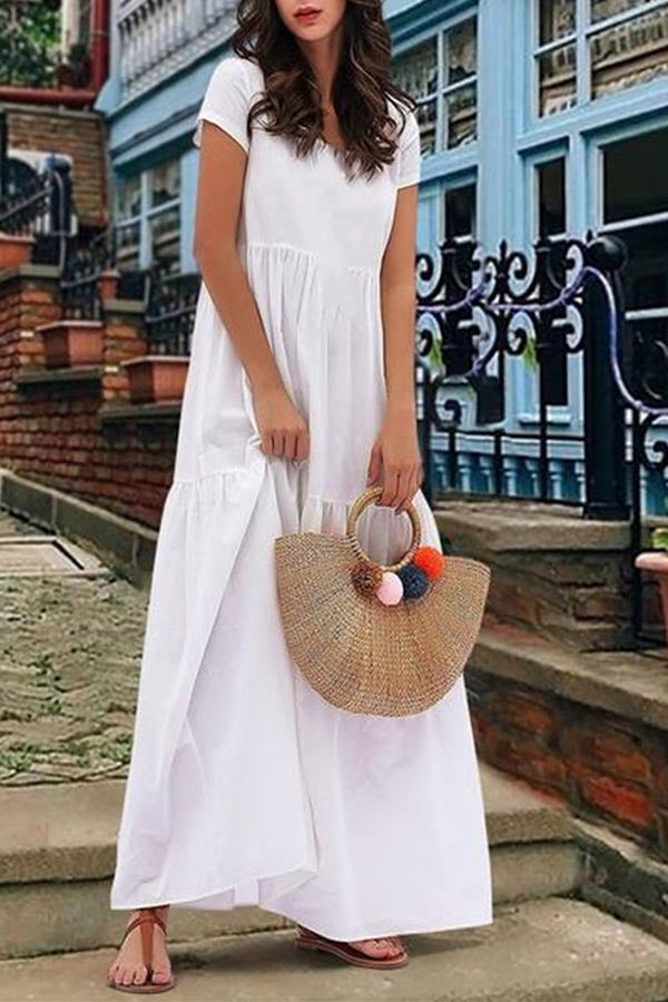 Holiday Solid Paneled Short Sleeves Maxi Dress