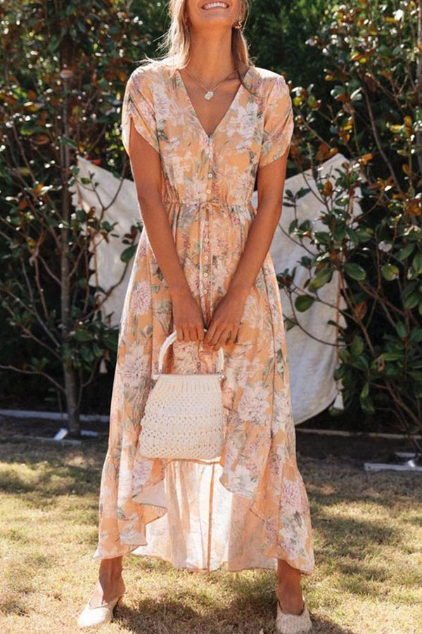 V Neck Floral Drawstring High Low Maxi Dress