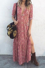 Floral Print V-neck Side Slit Maxi Dress
