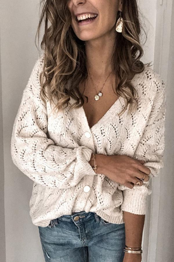 V Neck Button Fly Solid Cutout Casual Cardigans