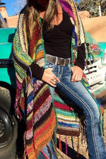 Colorful Striped Tassel Casual Knitted Cardigans