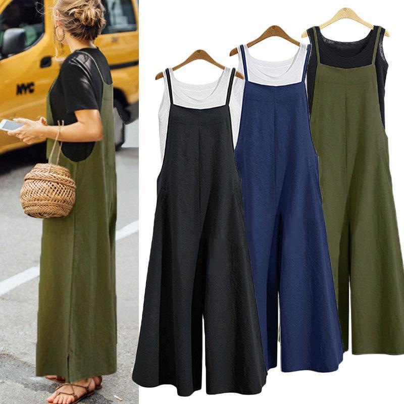 Casual Solid Loose Spaghetti Wide Leg Jumpsuits