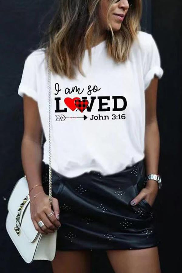 Letter Heart Print Paneled Short Sleeves Casual T-shirt