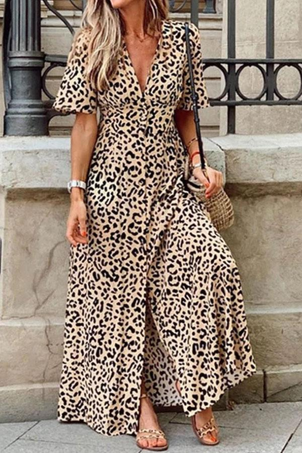Leopard Plunging Neck Holiday Slit Maxi Dress