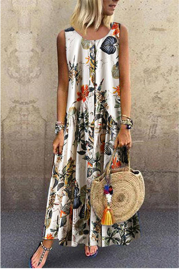 SEXY FLORAL PRINT SLIT SWING PARTY MAXI DRESS