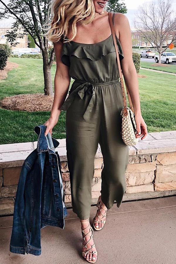 Solid Spaghetti Ruffled Self-tie Casual Jumpsuits