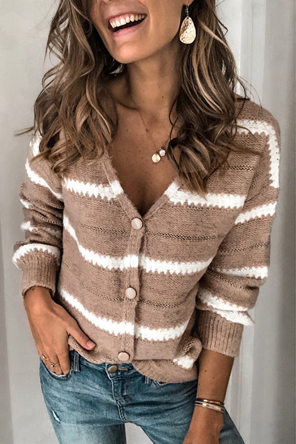 Stripe Casual V Neck Single Breasted Sweater