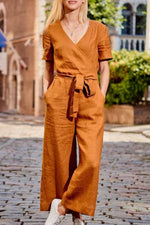 Paneled Solid Cross Front V-neck Casual Jumpsuits