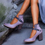 Pointed Toe Buckle Solid Casual Heels