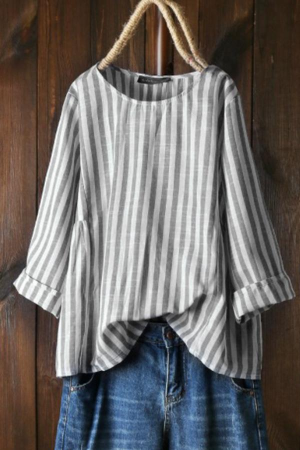 Casual Loose Crew Neck Stripe Long Sleeve Blouses
