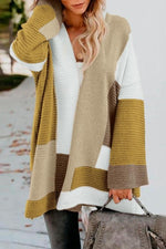 Color Block Long Sleeves Knitted Cardigans
