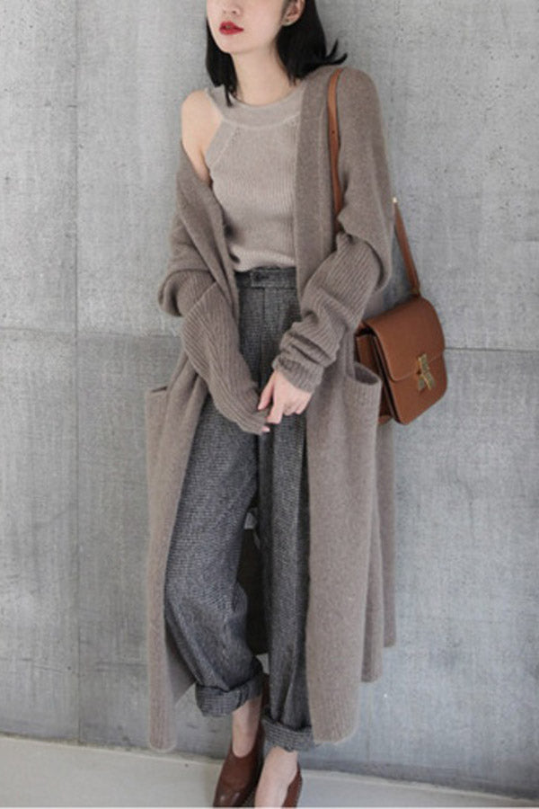 Casual Pockets Knitted Long Cardigans