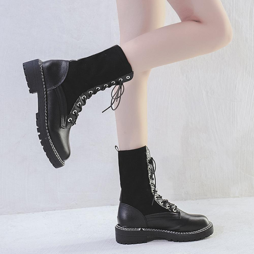 Round Toe Solid Chunky Heel Lace Up Vintage Boots