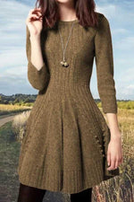 Round Neck Pleated Ribbed Knitted Sweater Dress