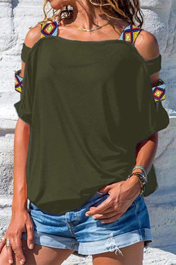 Casual Solid Cutout Cold Shoulder T-shirts