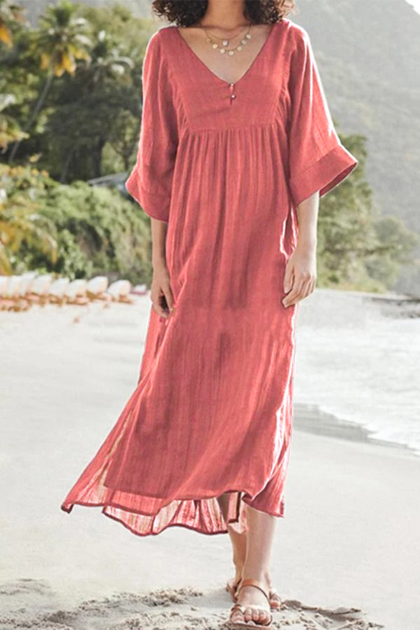 Loose Casual Half Sleeves V Neck Solid Maxi Dress