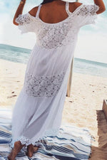 Paneled Lace Cold Shoulder Holiday Maxi Dress