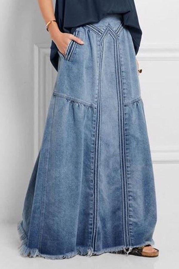 A-line Side Pockets Denim Elastic Maxi Skirts
