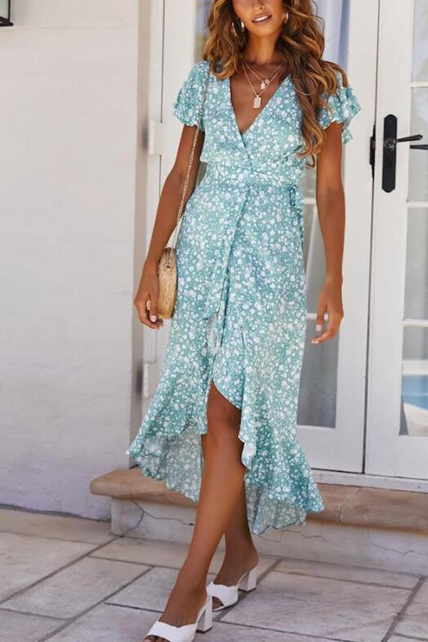 High Low Floral Print Self-tie Holiday Dress
