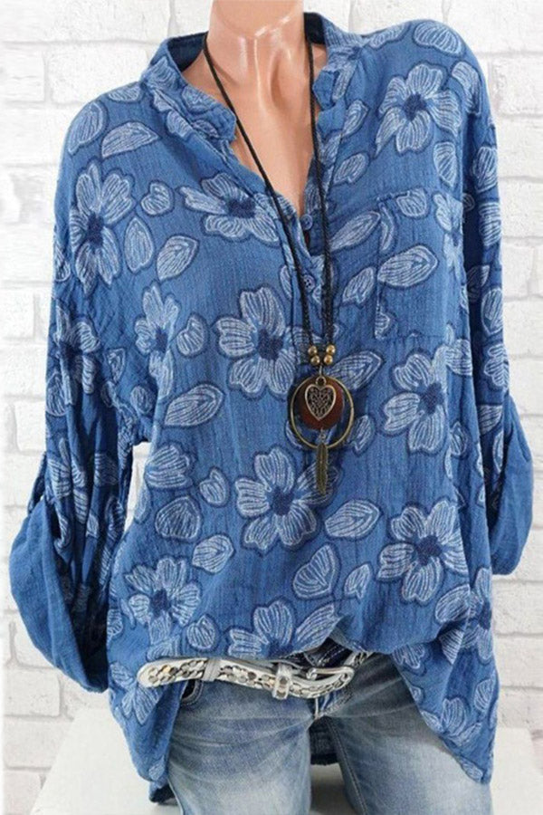 Floral Printed V Neck Long Sleeves Casual T-shirts