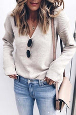 Deep V-neck Long Sleeve Knitted Sweater
