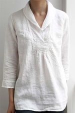 Solid Linen Shirt Collar Blouses