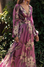 Boho Floral Print Plunging Neck Holiday Maxi Dress