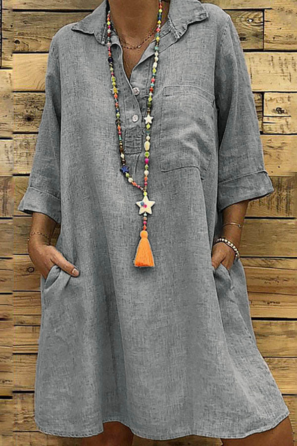 Linen Side Pockets Casual Loose Midi Dress