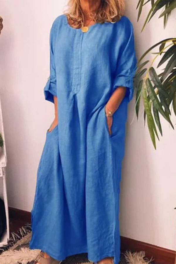 Solid Loose Adjustable Long Sleeves Maxi Dress