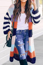 Long Sleeves Color-block Striped Casual Cardigans