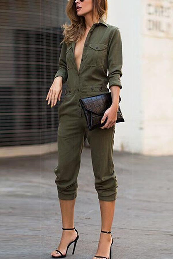 Solid Buttoned Shirt Collar Shift Casual Jumpsuits