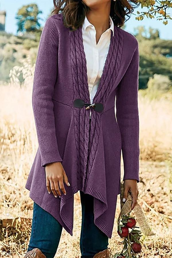 Paneled Ribbed Horn Buckle Irregular Hem Cardigans