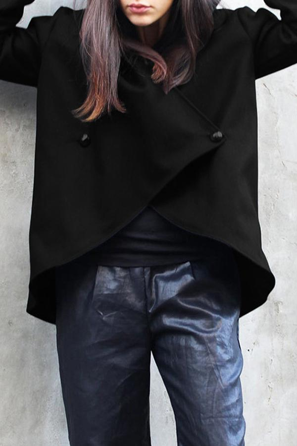 Irregular Buttoned Solid Casual Hooded Coat
