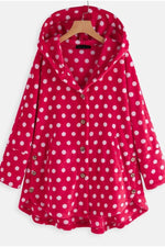 Pockets Button Front Polka Dot Fluffy Hoodies
