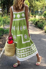 Casual Square Neck Print Maxi Dress