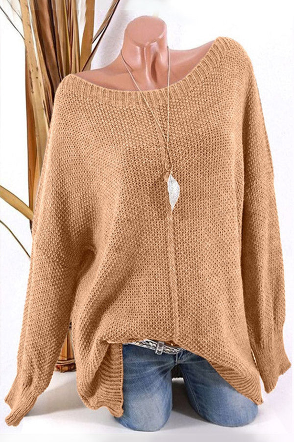 Knitted Solid Loose Long Sleeve Sweater